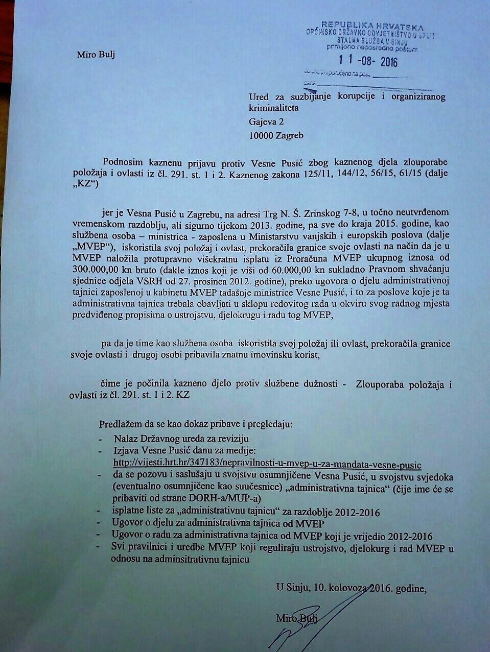 Miro Bulj podnio kaznenu prijavu protiv Vesne Pusić
